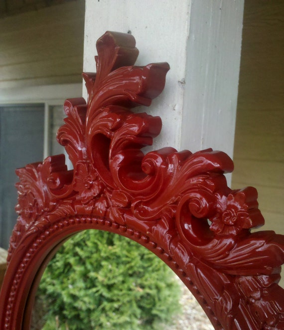 Oval Wall Mirror in Ornate Ruby Red Vintage Frame 1977