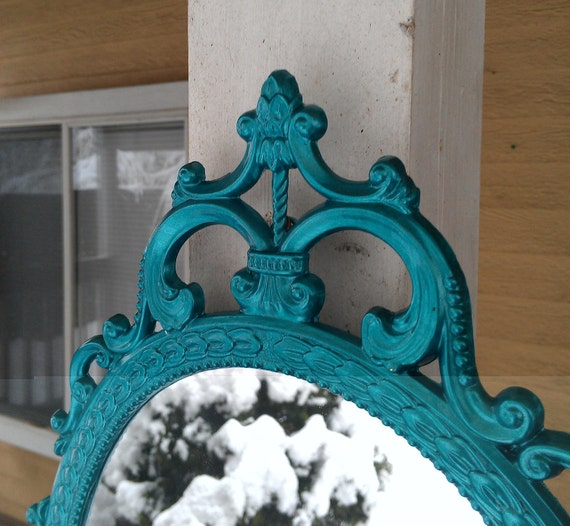 Ornate Oval Mirror in Vintage Metal Frame - 17 x 12 inch Handpainted Brass in Shimmering Aqua