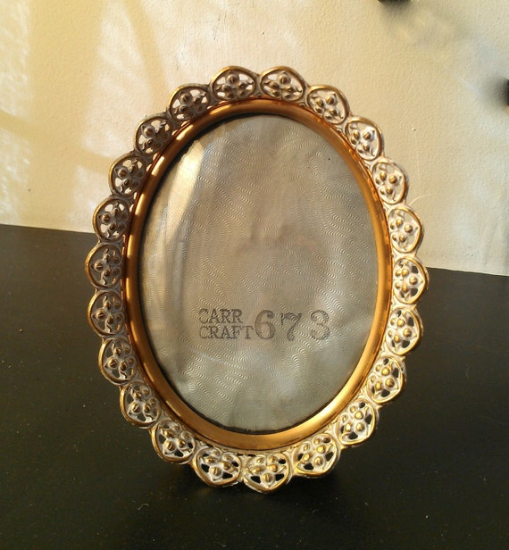 antique picture frame with convex glass and by