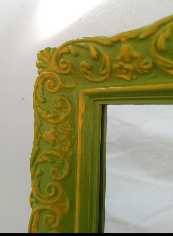 Baroque Wall Mirror in Vintage Frame - Spring Green and Yellow