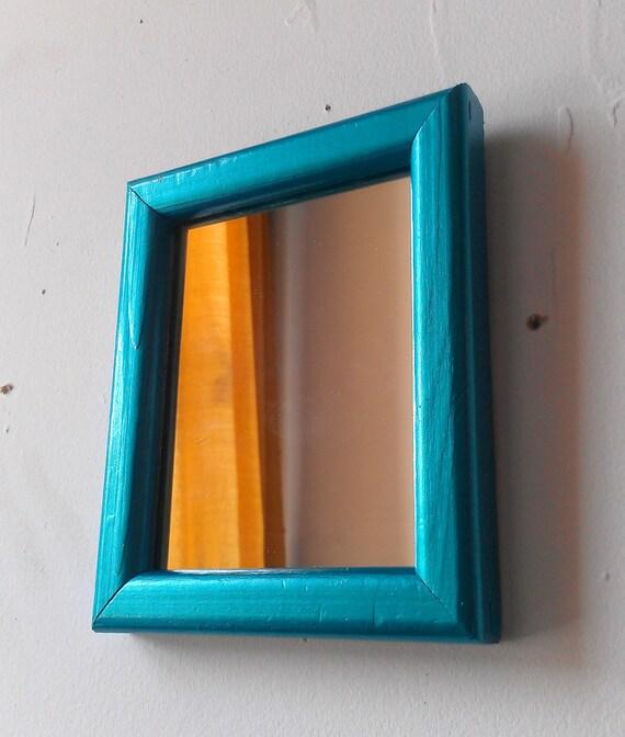 Miniature Wall Mirror in Vintage Wood Frame - Shimmering Aqua