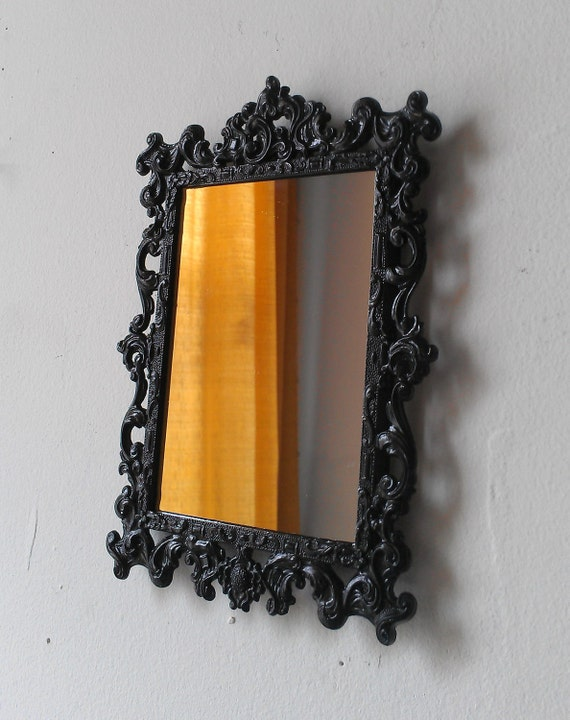 Black Wall Mirror in Small Ornate Vintage Brass Frame