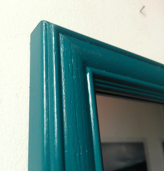 Tiny wall mirror in dark teal vintage wood by for Teal framed mirror