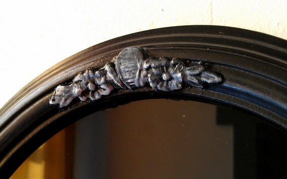 Black Scrying Mirror in Vintage Oval Wood Frame