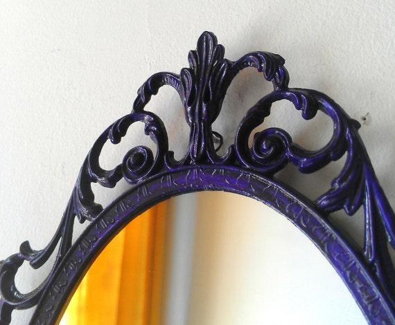 Fairy Princess Mirror - Ornate Vintage Frame in Deep Purple - 10 by 7 inches
