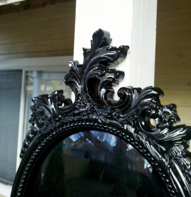 Details about brass photo frame vintage ornate oval frame victorian - Black Scrying Mirror In Large Oval Vintage Frame Convex Glass