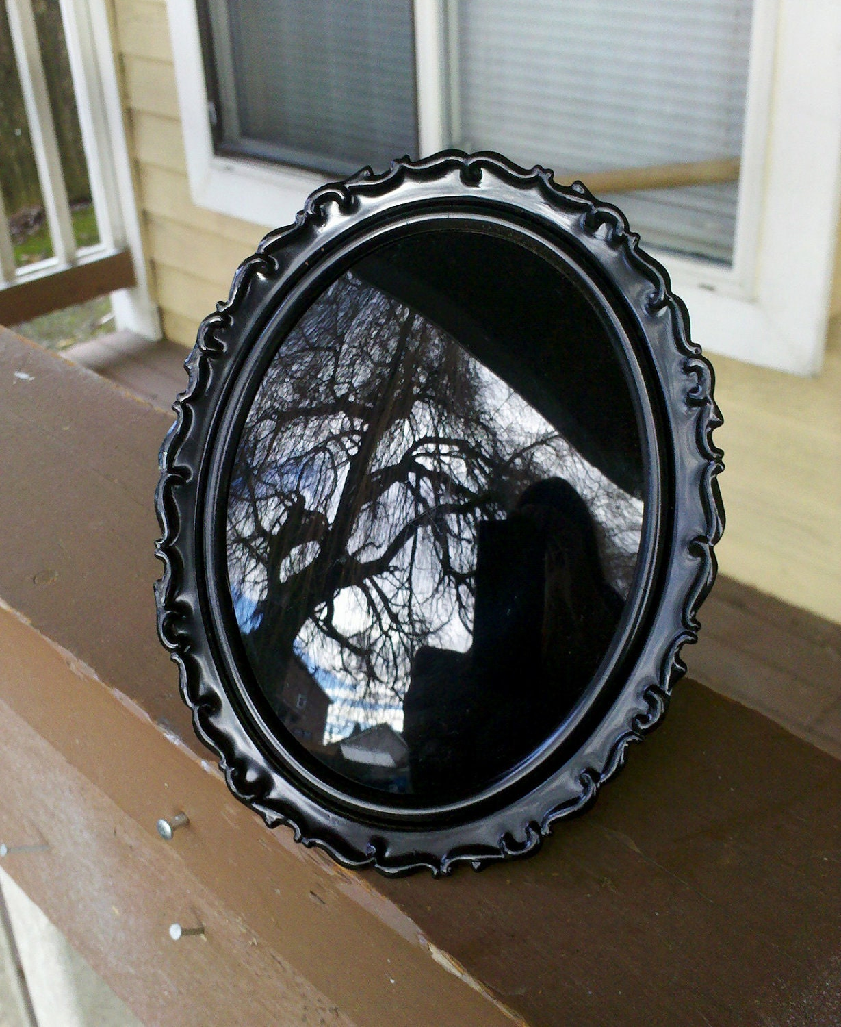 Black Scrying Mirror In Antique Easel Frame With Convex Glass