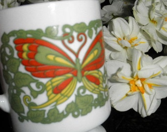 Pair of Vintage Pedestal Mugs with Psychedelic Butterfly Motif
