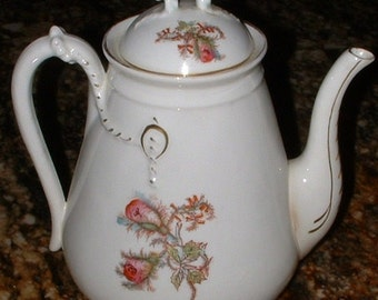 Antique Ironstone Coffee or Tea Pot in Moss Ross Pattern