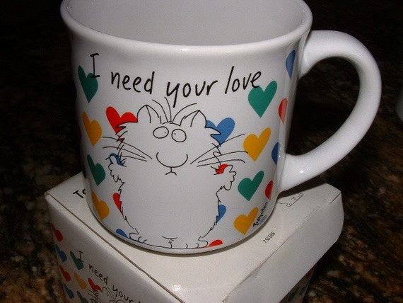 Vintage BOYNTON Mug with Cletus Cat and Hearts ...I Need your Love.  Original BOX.