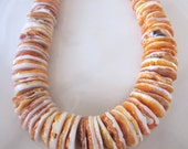 Natural Organic Orange Spiney Oyster Shell Graduating Discs 5-13mm - FULL 18 inch strand  Was 42.00