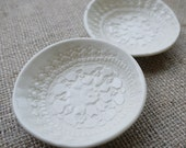 Porcleian Dishes, Vintage Lace Ceramic Ring Dish Set by Mrs Peterson Pottery