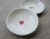 Porcleain Dish Set, Handmade Ceramic Red Hearts by Mrs Peterson Pottery
