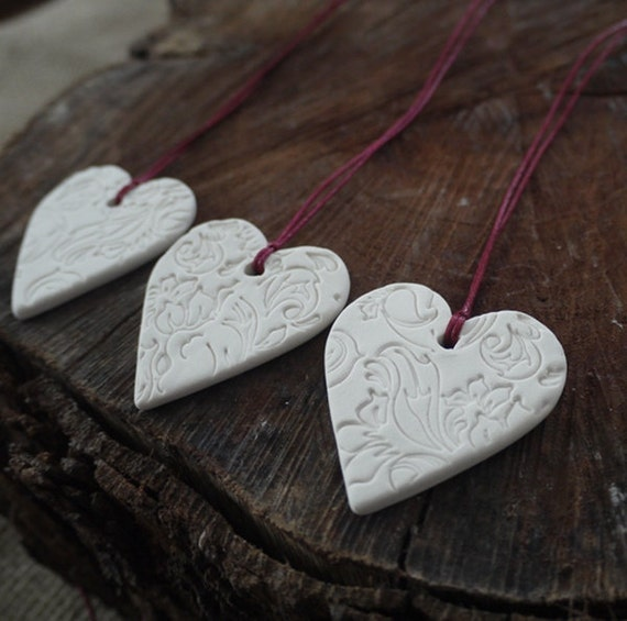 Porcelain Heart, Valentines Day Ornament, Mrs Peterson Pottery, Wedding favours