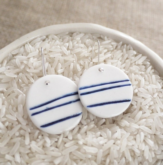 Blue Lines Porcelain Earrings by Mrs Peterson Pottery