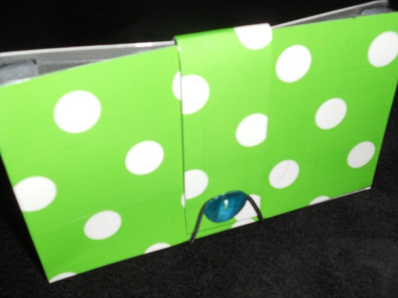 Green and white duct tape coupon organizer