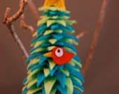 Green and Blue Christmas Tree Ornament with Red Bird