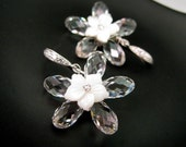 Swarovski clear briolette crystal flower earrings with sterling silver hook  -Free US shipping