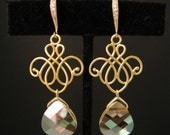 golden shadow briolette crystal drop with vermeil gold hook with cz - Free US shipping