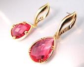 Grapefruit color quartz glass bezel teardrop earrings with curve golden post.- Free US shipping