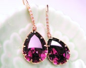 Amethyst teardrop swarovski crysta foiled back rhinestonel with cubic zirconia deco gold vermeil hook earrings. Free US shipping