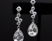 clear white teardrop cz on round cz post earrings with  four circular cz connectors - Free US shipping