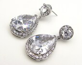 Clear white teardrop cz on round cz post earrings (LG)- Free US shipping