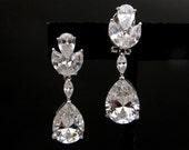 wedding jewelry bridal earrings Clear white teardrop cubic zirconia post earrings marquise rhodium dangle earrings diamond quality cubic