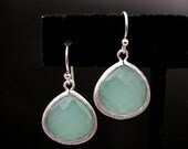 matte white gold plated brass framed light light mint green jade and sterling silver hook  - Free US shipping