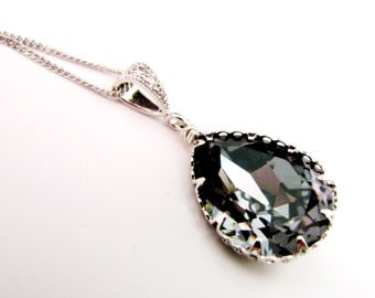 Swarovski silver night vintage teardrop foiled pendant with sterling silver chain necklace- Free US shipping
