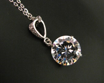 Simple bridal wedding Sterling silver necklace with round cubic zirconia pendant - Free US shipping