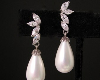 wedding bridal white gold  plated half flower cubic zirconia earrings with white teardrop shell pearls- Free US shipping