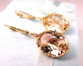Swarovski vintage rose oval foiled pendant with gold vermeil hook - Free US shipping