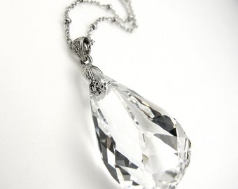 Swarovski clear white new helix crystal pendant with silver chain necklace- Free US shipping