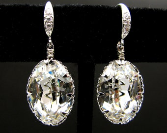Wedding bridal earrings Swarovski clear white oval foiled crystal rhinestone pendant with white gold silver cubic zirconia deco hook (M) -