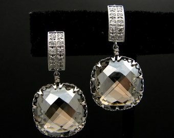 Swarovski crystal satin square foiled crystal rhinestone drop with white gold silver post earrings- Free US shipping