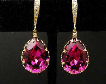 bridal bridesmaid party wedding gift Swarovski fuchsia hot pink magenta teardrop foiled rhinestone with gold cubic zirconia hook earrings