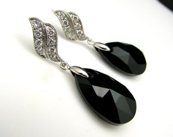 black jet swarovski briolette crystal with curvy style post earrings - free us shipping