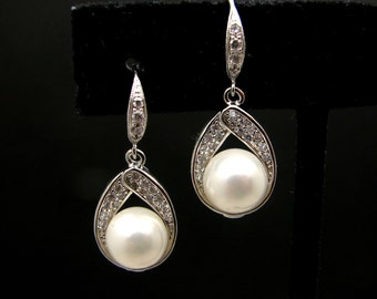 bridal wedding earrings Elegant white pearl with white gold plated sterling silver cubic zirconia deco hook . -Free US shipping
