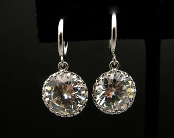 STERLING SILVER-Wedding bridal Clear white round cubic zirconia drop on hoop earrings clip ons
