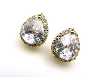 bridal wedding jewelry bridesmaid gift christmas party prom pageant earrings cubic zirconia teardrop gold stud post