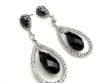 Wedding bridesmaid - Genuine Swarovski jet black briolette crystal drop earrings with crystal stone decorated teardrop- Free US Shipping
