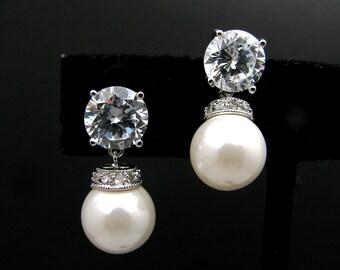 Bridal earrings wedding earrings bridal jewelry simple elegant  10mm white pearl on cubic zirconia earring solitaire post