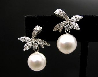 STERLING SILVER- Bridal wedding 10mm white or cream pearl earrings with bow style post with cubic zirconia - Free US Shipping