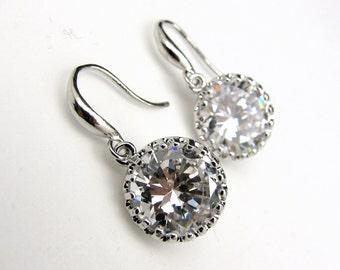Bridal jewelry Simple bridal earrings wedding earrings wedding jewelry clear white round 12mm cubic zirconia drop with sterling silver hook