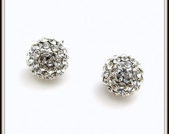 bridal jewelry bridesmaid earrings wedding earrings wedding jewelry clear white fire ball round crystal rhinestone sterling silver stud