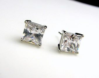 wedding bridal christmas bridesmaid prom gift party jewelry princess cut square aaa cubic zirconia post stud solitaire rhodium earrings
