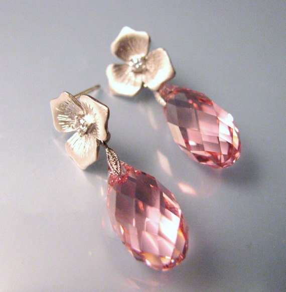 Silver flower earring post with light pink swarovski briolette - Free US shipping