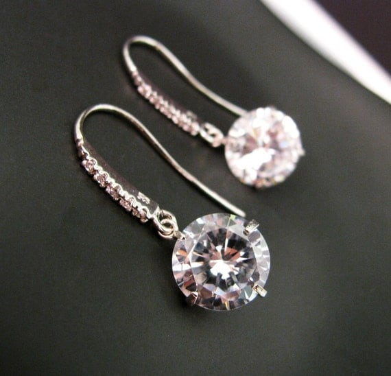 Cubic zirconia round drop.with Sterling silver cz hook - Free US shipping