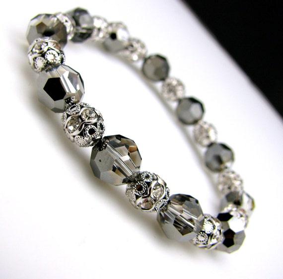 Swarovski silver night round crystal bead with white gold rhinestone detailed filigree beads stretch bracelet bridesmaid gift bridal wedding